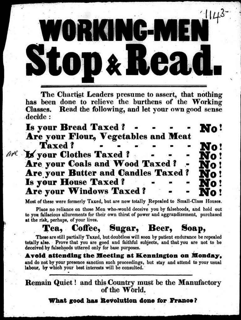 Anti-Chartist poster, 1848.