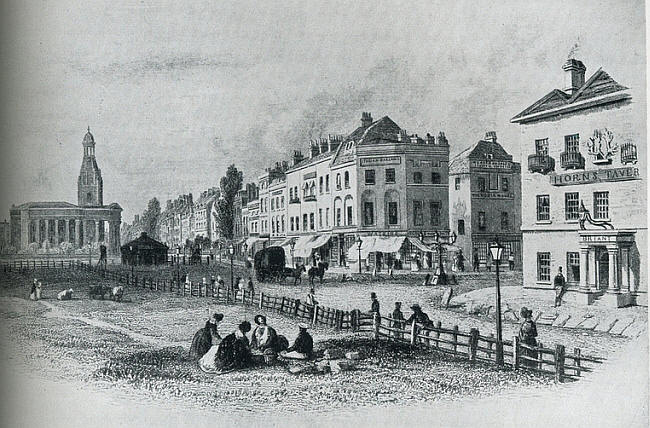 Engraving of Kennington Common near Horns Tavern about 1843.
