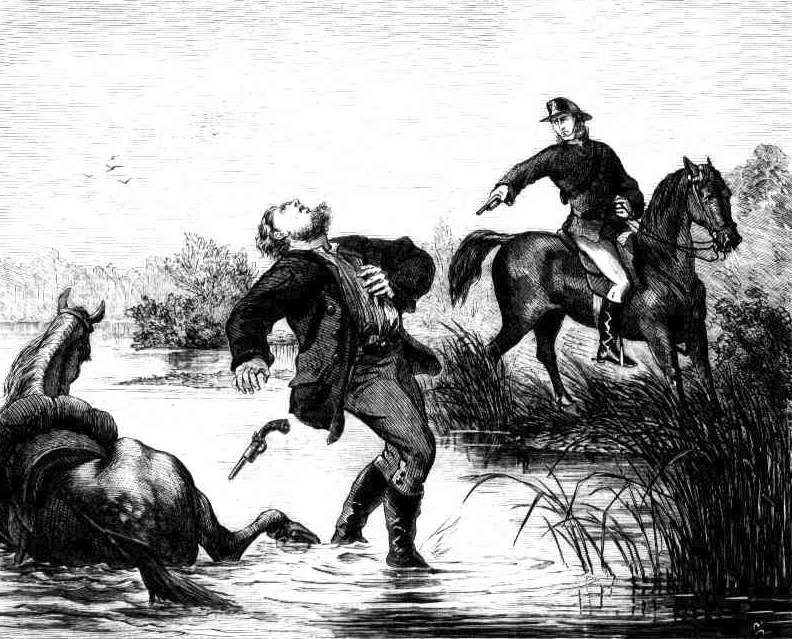 Engraving of the capture of Frederick Ward (Captain Thunderbolt) at Kentucky Creek.