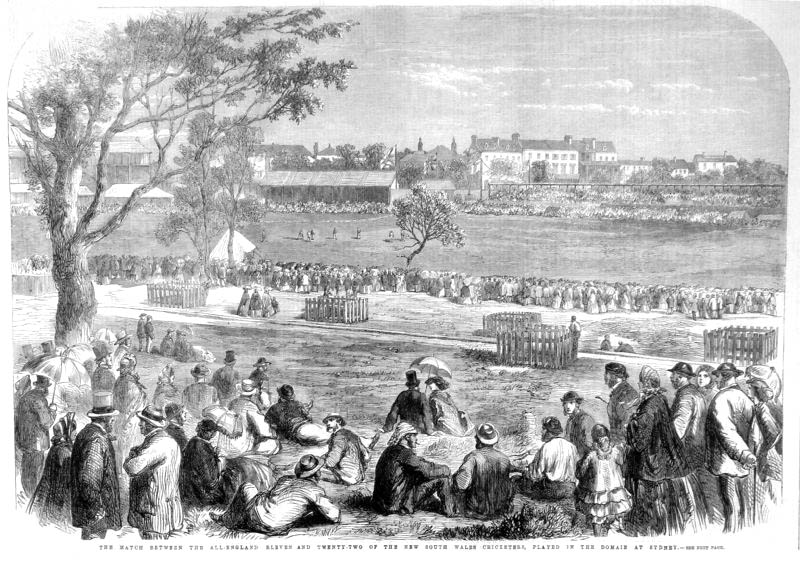 Woodcut engraving of cricket match at Sydney Domain in 1862.