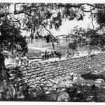 Frank Cotton's timber cotter dam at Blue Hole, Gara River near Armidale, c. 1899-1900.