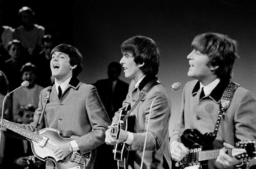 The Beatles performing on Dutch TV in June 1964.