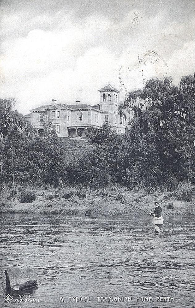 Historic photo of Scone House and South Esk River.