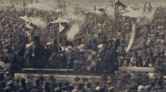 Excerpt of William Kilburn Daguerreotype of Chartist meeting at Kennington Common 10 April 1848.