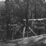 Manually operated cable winch at Styx River NSW about 1907
