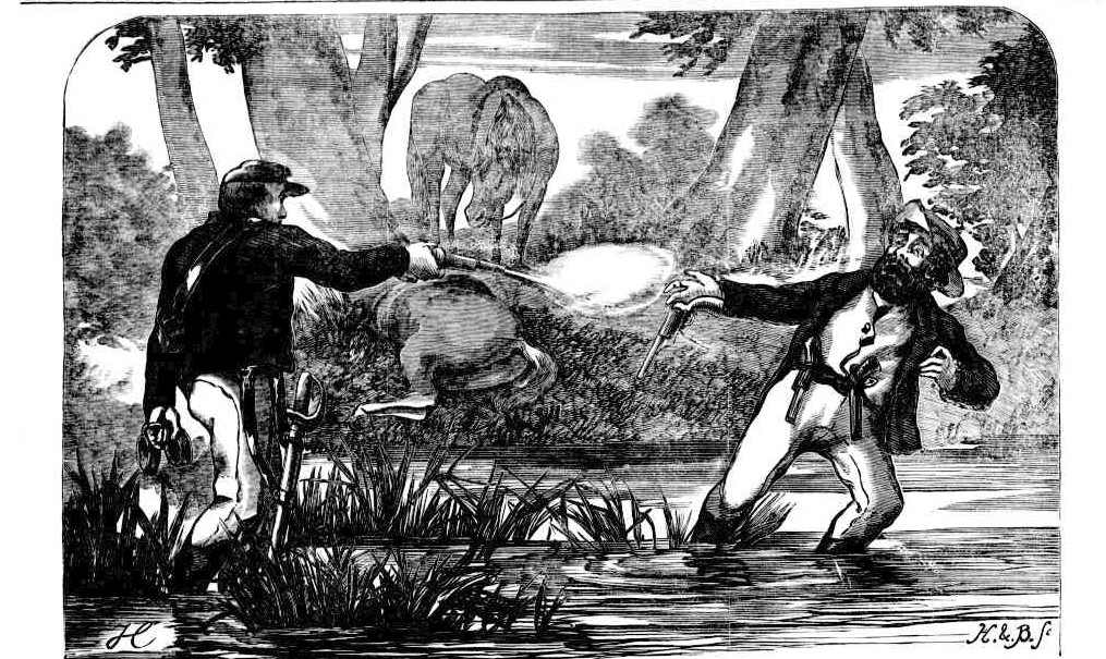 Woodcut engraving of capture of Frederick Ward.