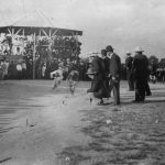 Racing at Hillgrove in the early twentieth century. Events like this were also held at night and lit by the Gara River power station. Source: University of New England Archives and Regional Heritage Centre.
