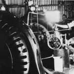 Staff and machinery at the Styx River power station.